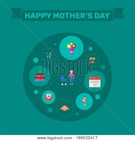 Happy Mother's Day Flat Layout Design With Special Day, Flower And Mom Symbols. Lovely Mom Beautiful Feminine Design For Social, Web And Print.