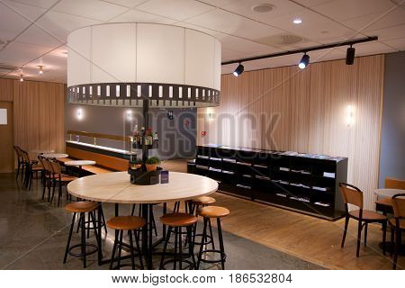 OSLO, NORWAY - JAN 21st, 2017: airport business class lounge interior of SAS, seating area in a frequent flyer lounge for SAS Gold customers.