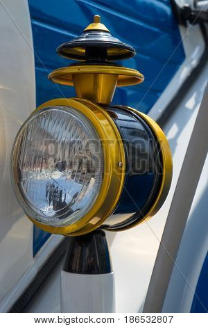 The light of retro car, old automobile detail