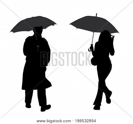 Man and woman with umbrella. Isolated white background. EPS file available.
