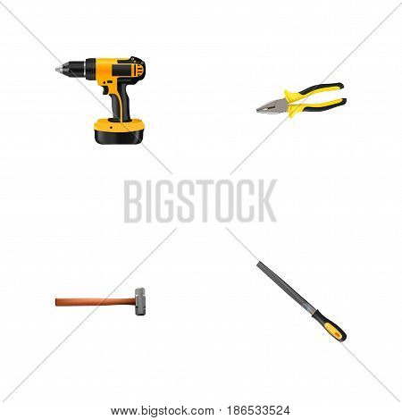 Realistic Electric Screwdriver, Handle Hit, Sharpener Vector Elements. Set Of Kit Realistic Symbols Also Includes Emery, Electric Screwdriver, Pincers Objects.