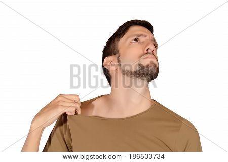 Man Smelling His Armpit.