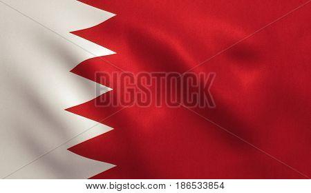 Bahrain flag with fabric texture. 3D illustration.