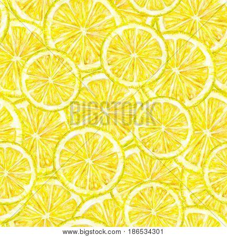 Yellow lemon fruits segments. Watercolor drawing. Handwork. Tropical fruit. Healthy food. Seamless pattern for design
