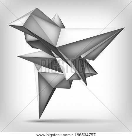 Volume geometric shape, 3d levitation crystal, creative low polygons object, vector design form