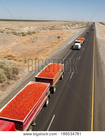 Loads of produce travel via trucks down California Highways