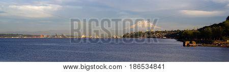 Mt Rainier dominates the horizon showing Ruston Way North Tacoma and the Port