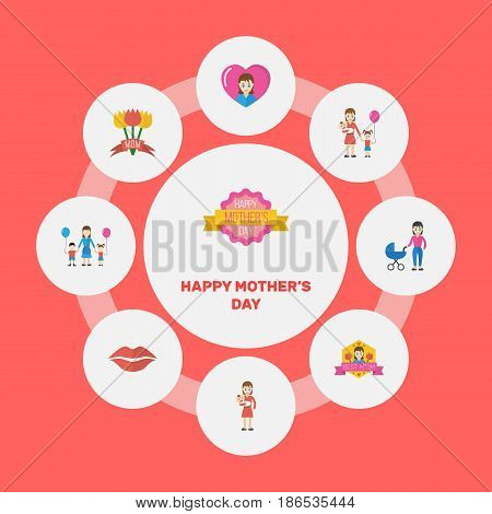 Happy Mother's Day Flat Layout Design With Heart, Best Mother Ever And Mam Symbols. Lovely Mom Beautiful Feminine Design For Social, Web And Print.