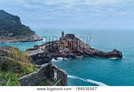 italy seascape coastline with old castle. Portovenere Liguria sea romantic view