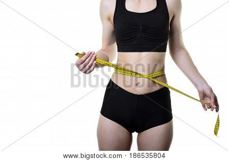 Young Woman Measuring Waist With Measuring Tape, Isolated On White Background.