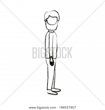 blurred silhouette cartoon full body faceless man with beard and moustache looking to side vector illustration