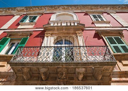 Detail of a historical palace of Locorotondo. Puglia. Italy.