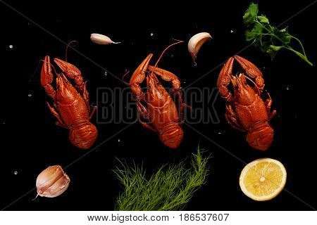 Boiled Crayfishes With Sea Salt, Garlic, Lemon, Parsley And Dill