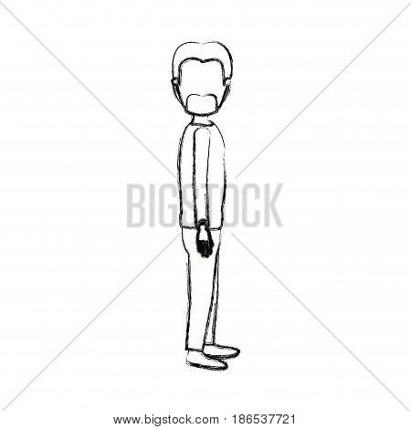 blurred silhouette cartoon full body faceless male person with beard and moustache looking to side vector illustration