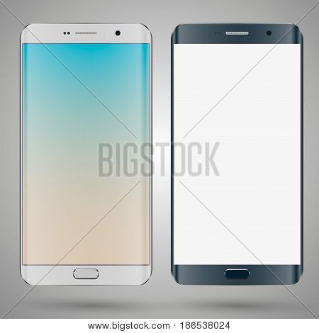 Smartphone mobile phone isolated with blank screen.