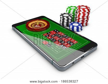 3D Illustration Of Online Games Web With Phone Casino Roulette Wheel, Online Play Concept