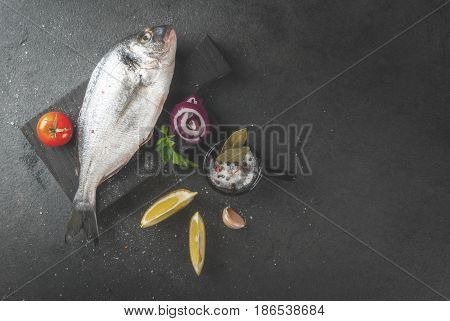 Dorado Fish With Ingredients For Cooking