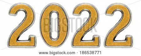 2022 Inscription, Isolated On White Background, 3D Render