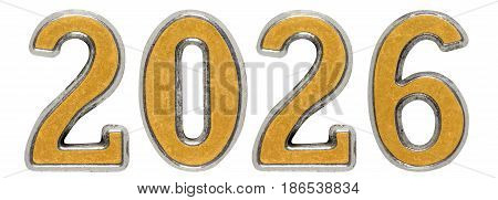 2026 Inscription, Isolated On White Background, 3D Render