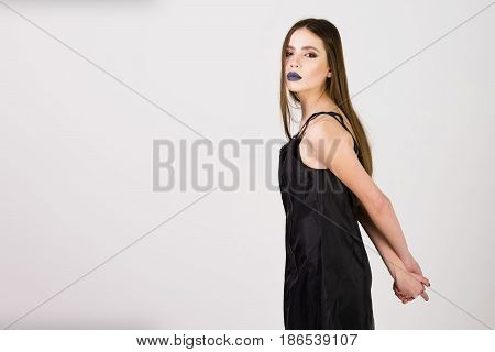 Fashion Beauty Girl With Black Make Up And Long Hair