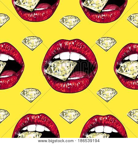 Bright lips holding a sparkling brilliant. Seamless pattern. Realistic graphic drawing. Background. Yellow