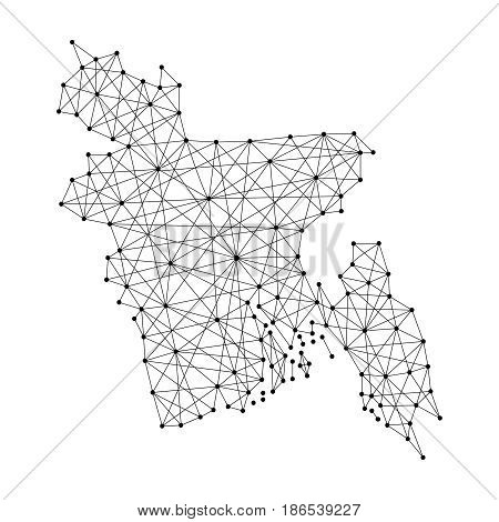 Map of Bangladesh from polygonal black lines and dots of vector illustration