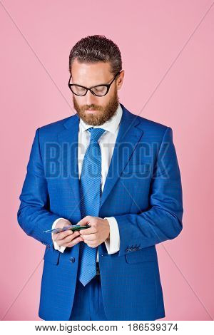 Man Or Businessman With Credit Cards In Glasses, Formal Outfit