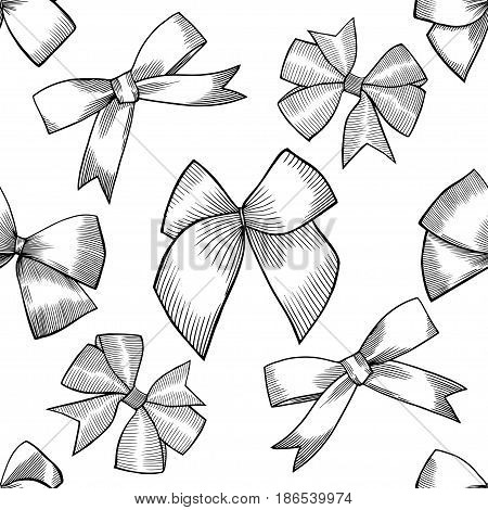 Seamless pattern with image of a tie and bow on white background. Vector illustration.
