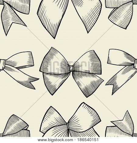 Seamless pattern with image of a tie and bow on beige background. Vector illustration.