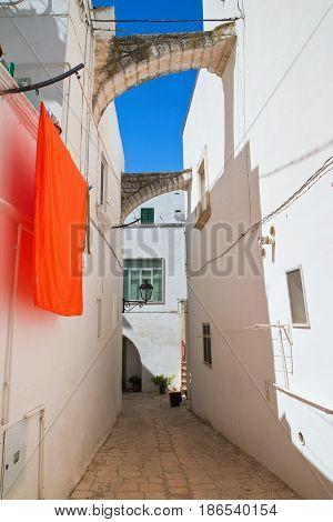 Chararacteristic alleyway of Locorotondo. Puglia. Southern Italy.