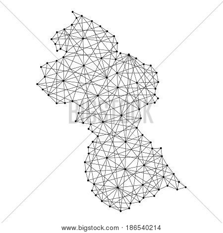 Map of Guyana from polygonal black lines and dots of vector illustration