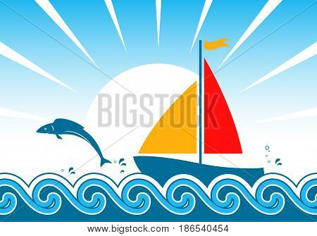 vector sailboat floating on the sea and jumping fish over the waves
