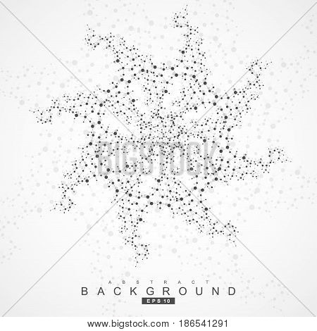 Geometric abstract background with connected line and dots. Scientific concept for your design. Vector illustration.