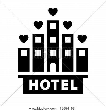 Hotel. Black icon isolated on white background