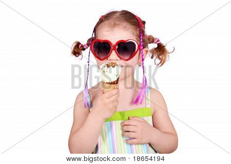 little girl with heart sunglasses and ice cream
