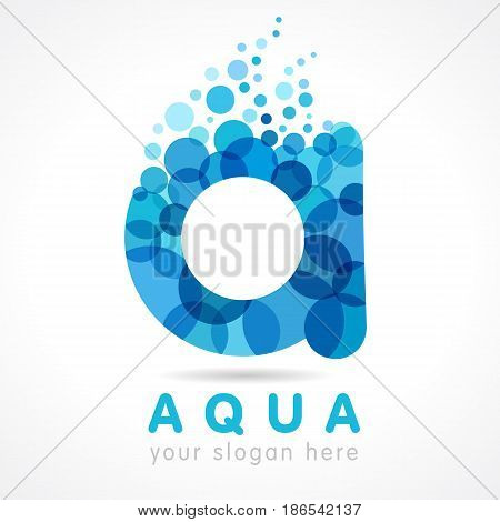 Aqua A water drop letter logo. Mineral natural water vector icon design. Logo of tourism, resort or hotel by the sea in letter