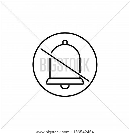 Soundless and mute line icon, mobile sign and silent with bell, vector graphics, a linear pattern on a white background, eps 10.