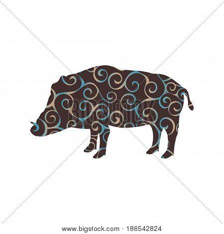 Boar wildlife color silhouette animal. Vector Illustrator.