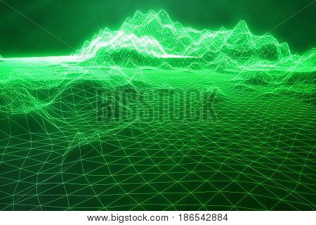 3D illustration abstract green landscape bacgkround. Cyberspace grid. Concept internet connections in cloud computing