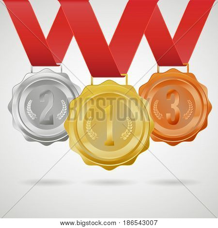 Set of winner medals. First second third place awards. 3D Gold silver bronze metal badges with red ribbon. Vector illustration.