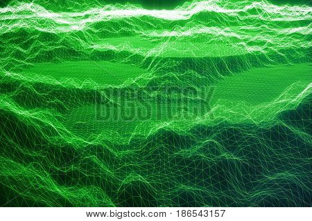 3D illustration internet connection, abstract sence of science and technology. Concept image cyberspace landscape grid