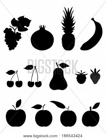Silhouettes of fruit, icon set for web and mobile