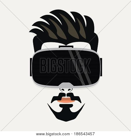 Goatee beard handsome hipster young male wearing virtual reality glasses