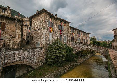 Clouds over Gubbio city in Umbria, Italy