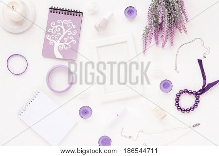 Feminine Desk Workspace With White Frame, Notebook, Empty Blank, Stylish Woman Purple Accessories, L