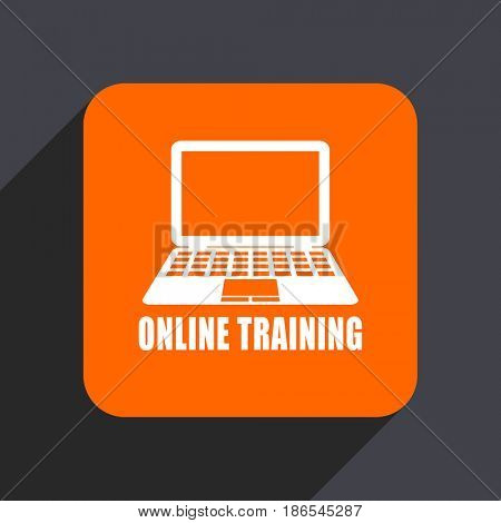 Online training orange flat design web icon isolated on gray background