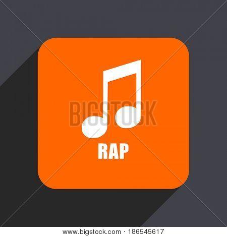 Rap music orange flat design web icon isolated on gray background