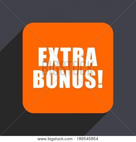 Extra bonus orange flat design web icon isolated on gray background