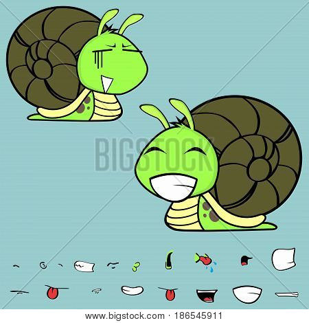 happy little snail cartoon expressions set in vector format very easy to edit