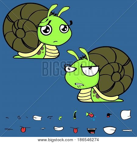 cute little snail cartoon expressions set in vector format very easy to edit